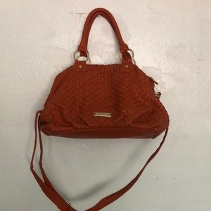 Burnt orange woven style bag